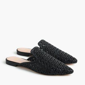 J Crew Pointed Toe Woven Slides Black L5457 $148